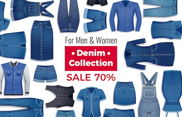 Adverterende lay-out van verkoop met korting van denimkleding op wit