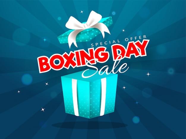 Adverterende verkoopbanner met de doos van de verrassingsgift van tweede kerstdag op blauwe stralen