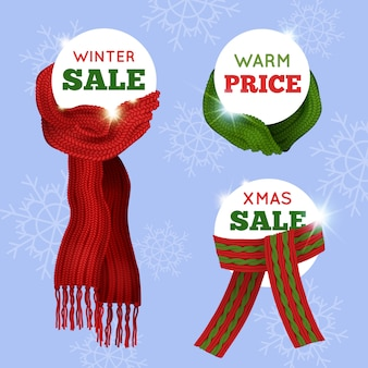 Adverterende verkoopkaart van verschillende gebreide sjaals op lichtblauwe naadloze achtergrond