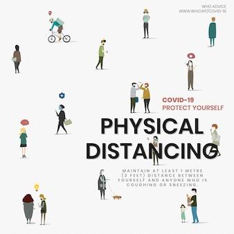 Advies over fysieke afstand door who vector sociale advertentie