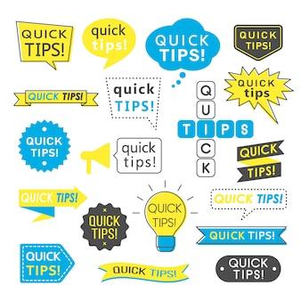Advies, snelle tips, handige trucs en suggesties logo's, emblemen en banners geïsoleerd.