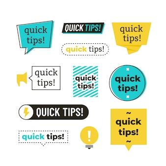 Advies, tip, snelle tips, handige trucs en suggesties vector banners set