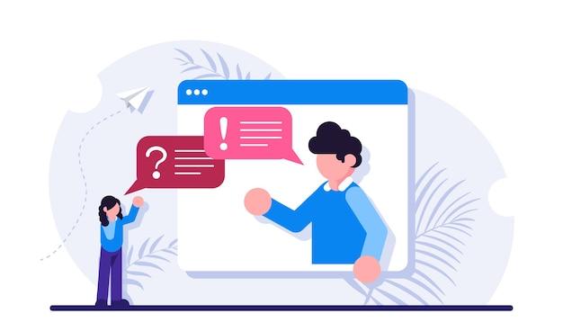 Adviesdienst voor zakelijk professioneel advies deskundig advies consultant-adviseur of manager die vragen beantwoordt en informatie verstrekt