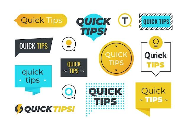 Adviesvormen. snelle tips handige trucs emblemen en logo's, tipherinnering bannerontwerp