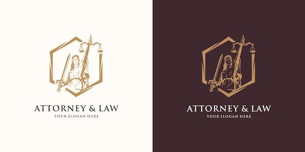 Advocaat en wet logo-ontwerp, godin van rechtvaardigheid op zeshoek