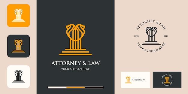 Advocaat en wet logo, palen met dubbele leeuw lijn logo