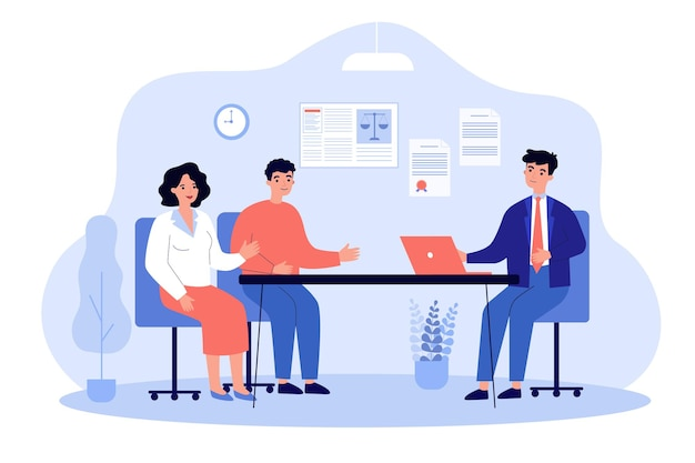 Advocaat in gesprek met klanten vlakke afbeelding