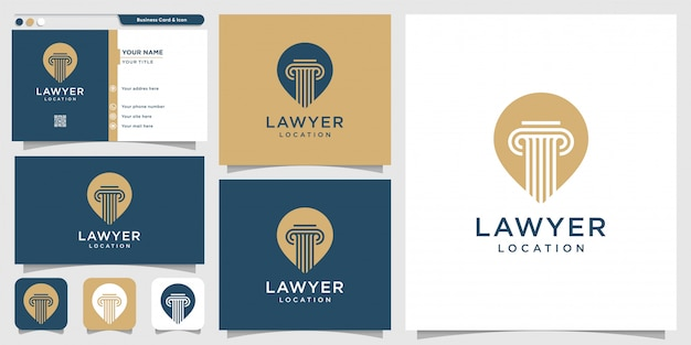 Advocaat locatie logo en visitekaartje ontwerpsjabloon, advocaat, justitie, pin-logo, wet-logo