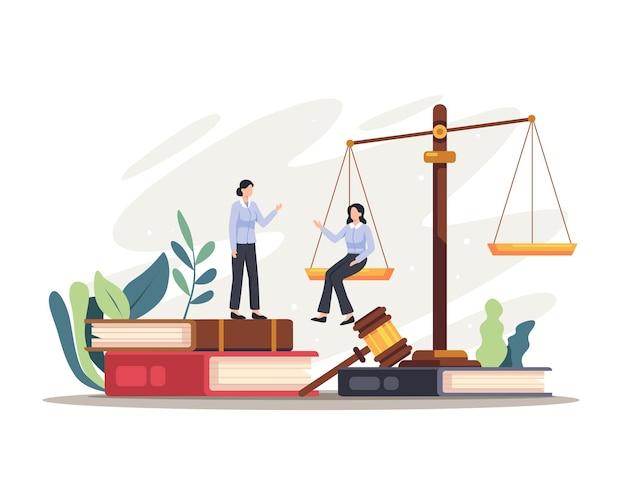 Advocaat rechter tekens illustratie. justitie en federale autoriteit symbool, advocaat beroep kennis. vectorillustratie in een vlakke stijl