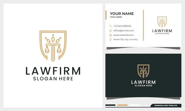 Advocatenkantoor, advocaat, pijler logo-ontwerp met kroon en schild concept en lijnstijl met visitekaartjesjabloon