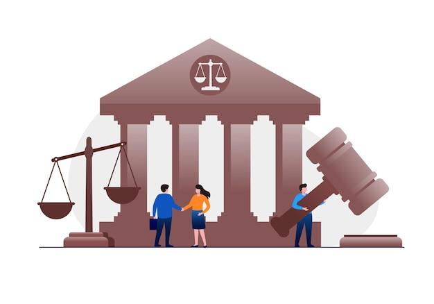 Advocatenkantoor en juridische platte vectorillustratiebanner en bestemmingspagina