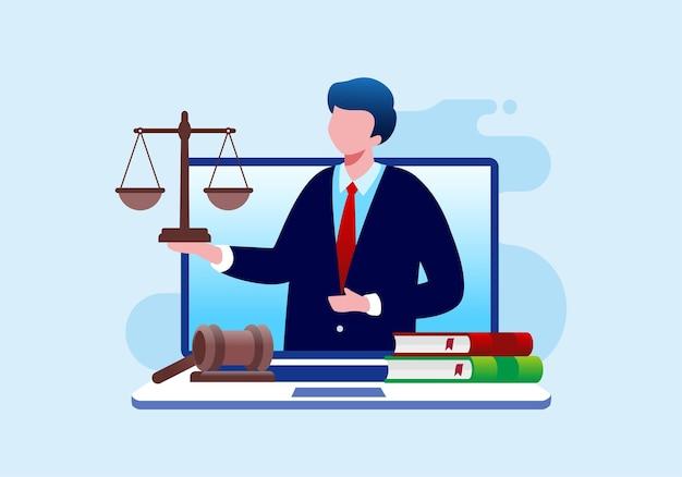 Advocatenkantoor en online juridische platte vectorillustratiebanner en bestemmingspagina Premium Vector