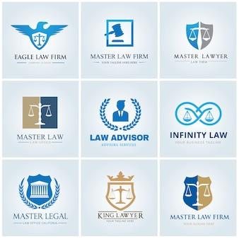 Advocatenkantoor logo icoon vector design. advocaat logo ontwerp set