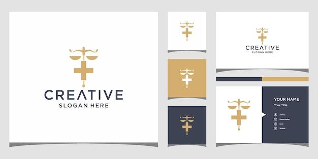 Advocatenkantoor logo-ontwerp met sjabloon voor visitekaartjes