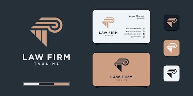 Advocatenkantoor logo ontwerp met sjabloon voor visitekaartjes.