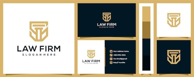 Advocatenkantoor logo ontwerp met sjabloon voor visitekaartjes