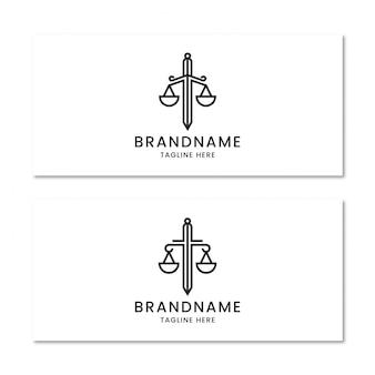 Advocatenkantoor met zwaard logo ontwerpsjabloon