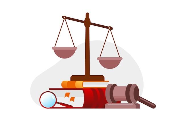 Advocatenkantoor platte vector illustratie sjabloon voor spandoek