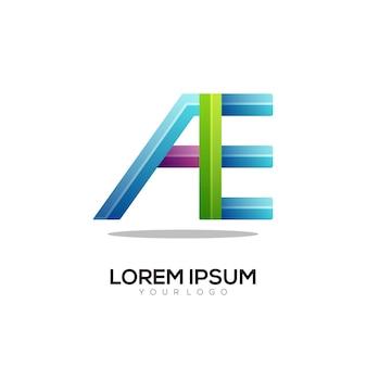 Ae letter logo kleurrijke gradiënt illustratie