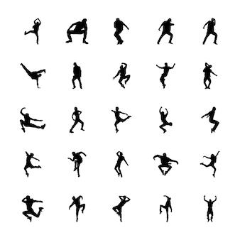 Aerobics silhouetten vectoren instellen