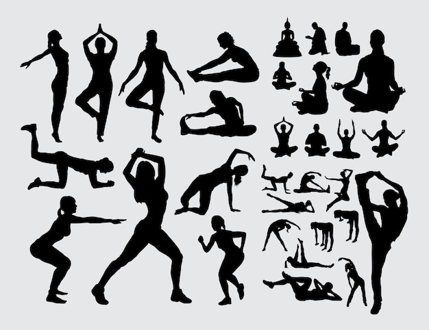 Aerobicsport en meditatiemensen silhouetteren
