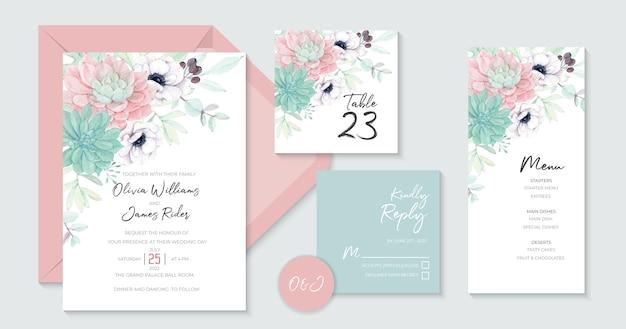 Aesthetics bruiloft uitnodiging sjabloon met prachtige vetplanten Premium Vector