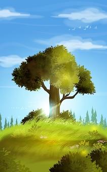 Afbeelding achtergrond van het realistische zomerlandschap. heuvellandschap met één prachtige boom op de heuvel, gras en kleine bloemen. zomer landschap met groen gras en blauwe lucht.