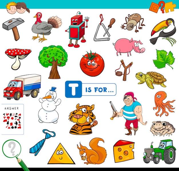 Afbeelding begint met letter t voor kinderen