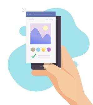 Afbeelding foto-editor software app online op mobiele telefoon vector