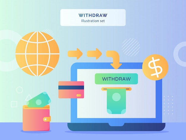 Afbeelding instellen geld uit de monitor laptop achtergrond van geld in portemonnee kaart bank wereldbol dollar munt pictogram met vlakke stijl intrekken