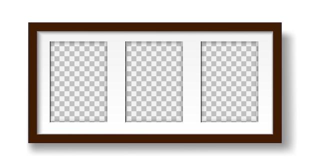 Afbeelding op de muur lay-out van een mat frame voor drie foto's voor interieurontwerp mock-up