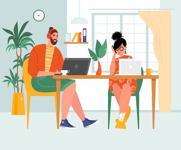 Afbeelding over het onderwerp thuiswerk, concept. jonge vrouw en man die online op laptops werken.