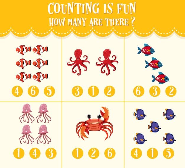 Afbeelding tellen en omcirkelen het rekenwerkblad met getallen voor kinderen
