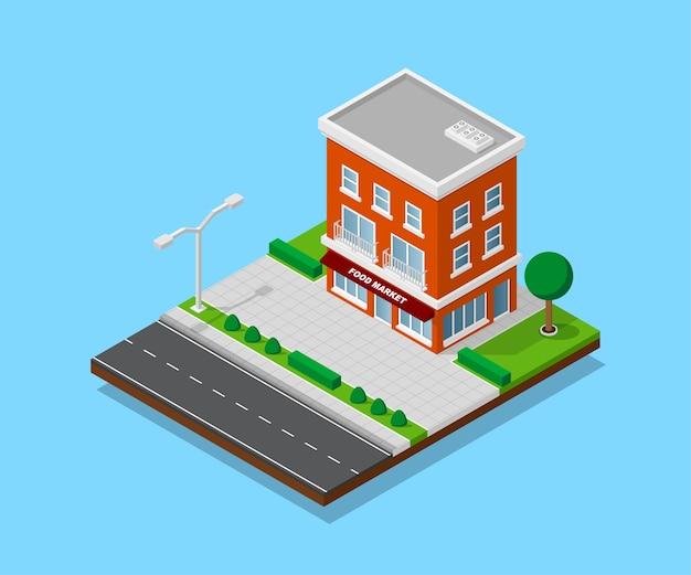 Afbeelding van appartent huis met voetpaden, weg, bomen en straatverlichting, laag poly stadsgebouw, isometrisch pictogram of infographic element voor het maken van stadsplattegronden