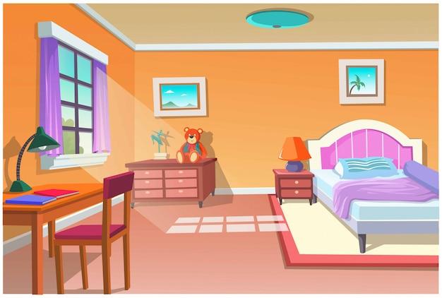 Afbeelding van cartoon slaapkamer.