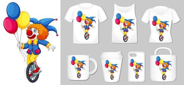 Afbeelding van clown op verschillende soorten productsjabloon