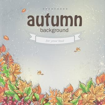 Afbeelding van de herfst achtergrond met bladeren, kastanjes en eikels.