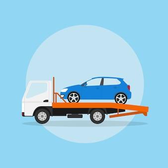 Afbeelding van de sleepwagen met auto erop, stijlillustratie