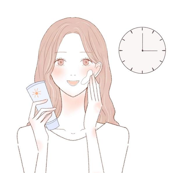 Afbeelding van de timing van het aanbrengen van zonnebrandcrème. op een witte achtergrond.