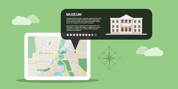 Afbeelding van digitale tablet met kaart en gps-aanwijzer op is scherm, mobiele kaarten en gps-positioneringsconcept