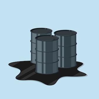 Afbeelding van drie oliebus, stijl illustratie