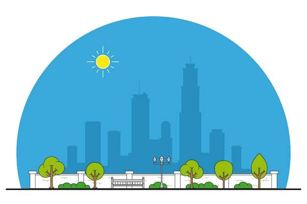 Afbeelding van een bankje in het park, bomen en straatlantaarn, parkstraatje, rustplaats, dunne lijn
