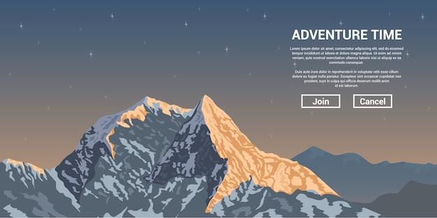 Afbeelding van een bergtop met sterren op achtergrond, trekking en klimmen banner concept