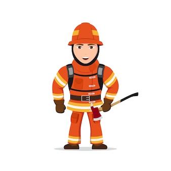 Afbeelding van een brandweerman karakter met bijl op witte achtergrond.