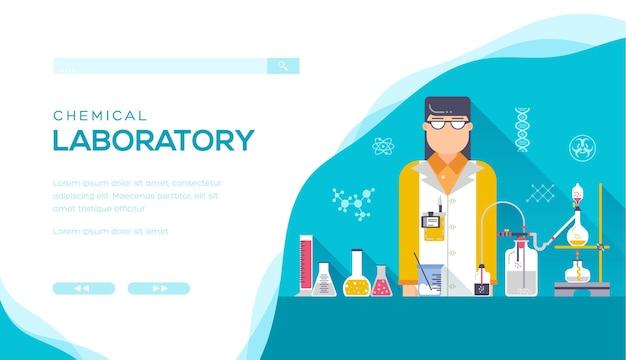 Afbeelding van een chemisch laboratorium voor het uitvoeren van chemische experimenten met een chemisch ontwerp.