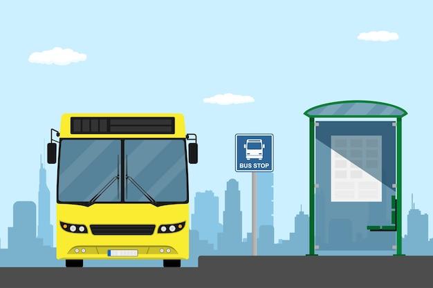 Afbeelding van een gele stadsbus op een bushalte, stijlillustratie