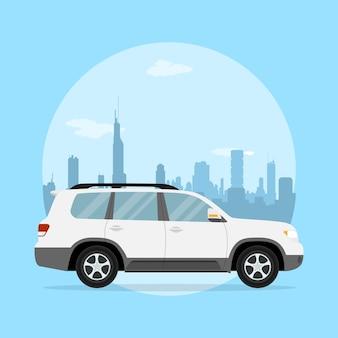 Afbeelding van een jeep voor een silhouet van een grote stad, stijlillustratie