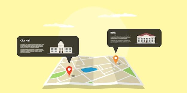 Afbeelding van een kaart met twee gps-aanwijzers en gebouwenpictogrammen