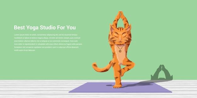Afbeelding van een kat die vrikshasana, yoga en meditatieconcept uitvoert