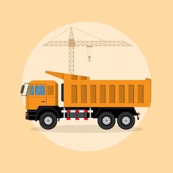Afbeelding van een kiepwagen met hijskraan op achtergrond, stijl illustratie